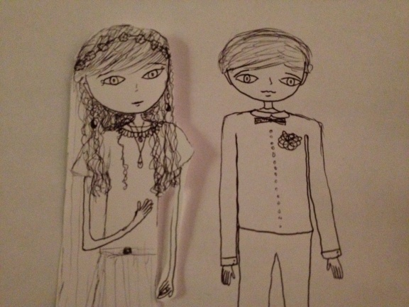 Illustration by TC's little cousin, who was 9. I like my drop earrings.