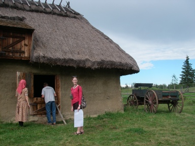 My dad and I check out a 1918 granary. Photo credit: Daina Zilans