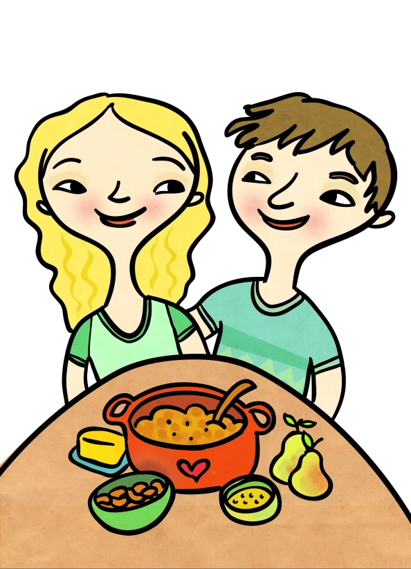 "Me and TC (from the inside cover of ""Favourite Recipes""). Illustration by Claire Robertson."